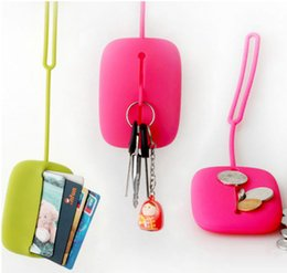 Wholesale Hanging Wallets - Wholesale- Cute mini solid change bags woman girl Coin Purses colorful Silicone key bags wallet small bag hanging purse bag case