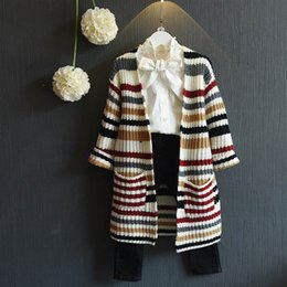Wholesale Hand Knit Girls Cardigan - Colorful Striped Coat Shawl Knitted Sweater Girls Cardigan Women Spring Autumn Plus Size Long Sleeve Long Poncho Feminino Inverno Pockets