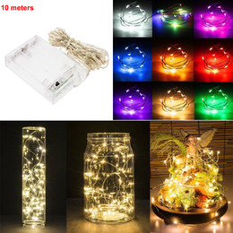 Wholesale Wire Garland Decorations - 10M 100led 3AA Battery Powered Outdoor LED Silver Wire Copper Wire Fairy String Lights Christmas Wedding Party Decorations garland Lighting