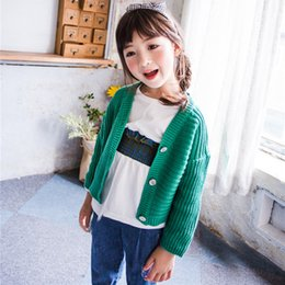 Wholesale Sweet Machines - Everweekend Girls New Knitted Sweater Cardigans Green and Beige Color Sweet Children Fashion Autumn Jackets Outwears