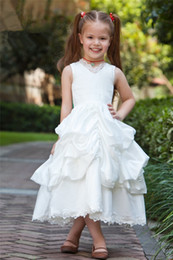 Wholesale Taffeta Dress First Communion - 2017 Fashion Sweetheart Lace Ball Gown Flower Girl Dresses with Pleat Taffeta Girls Pageant Gown First Communion Dresses BF01