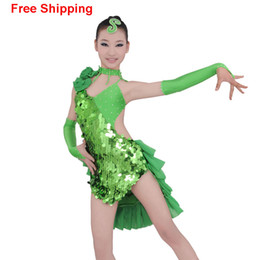 Wholesale Cocktail Zebra - Girls Sexy Open Back Sequin Latin Dance Dress Tulle Cocktail Competition Costumes Children Fish Scale Stage Dance Wear