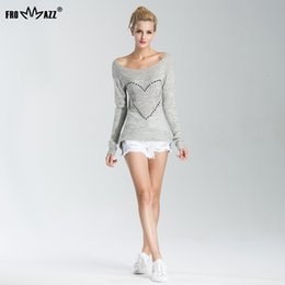 Wholesale Woman Bowknot Sweater - Wholesale- FROMMAZZ 2016 Autumn Women Sweater Sexy Knitwear Long Sleeve Off Shoulder Bowknot Rhinestone Knitted Tops Pullovers Plus Size