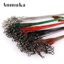 Wholesale Leader Hooks - Wholesale- Anmuka 50PCS Steel Wire Leader Rope Fishing Line Lure Leader Swivel Interlock Snap Anti-bite Line fishing hooks 16 18 22 25 28cm