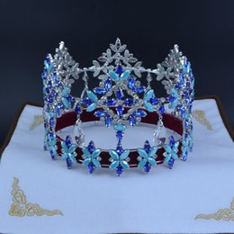Wholesale Austrian Crystal Mix - Pageant Crowns Miss World Global Full Round Dangle Crystal Austrian Rhinestone Blue Colour Mixing Biger A Smaller Size Hairdress Tiara 02222