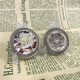 Wholesale Navy Souvenirs - 10PCS Free Shipping Wholesale Price United States Navy Chief Eagle American Flag Challenge Coin for Collection Souvenir