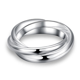 Wholesale 925 Wholesale Silver Ladies Rings - Fashion 925 Silver Plated Rings Jewelry Fashion 3 Smooth Hoops Rings Cute Women Ladies Rings Hot Sale