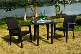 Wholesale Rattan Garden Furniture Wholesalers - Rattan outdoor furniture dinning tables and chairs three-piece tea table Garden and restaurant furniture cafe tables and chairs suit