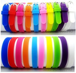 Wholesale 8mm Gold Slide Charms - Wholesale-8MM Silicone Wristband Bracelets Can Choose Color (20 pieces lot) DIY Accessory Fit Slide Letter  Slide Charms LSBR09*20