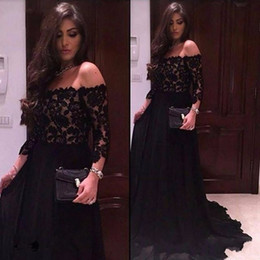 Wholesale Three Quarter Sleeve Evening Gowns - Sexy Off The Shoulder Black Lace Prom Dresses 2017 Three Quarter Sleeves Evening Party Dress Formal Gowns vestido de festa