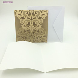 Wholesale Lace Wedding Invitations Sets - Wholesale- 5pcs set New Design Laser Cut Invitation Card Filigree Vine Lace Wedding Favors And Gifts Wedding Decoration Party Favors