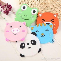 Wholesale Tea Cups Animals - Cup Mat Thicken Soft Rubber Insulation Pad Cute Cartoon Animal Water Proof Non Slip Tea Coaster Tableware 0 77dc F R