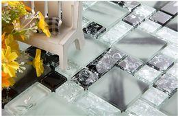 Wholesale Glass Shower Tiles - Crystal tiles Ice Crack Black&white Glass mosaic tiles kitchen Fireplace bath shower wall shower TV tub backsplash wall Art decor, LSBV1104A