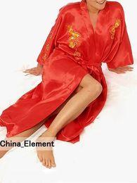 2019 manto de seda vermelha chinesa Atacado- Moda Red mulheres chinesas de cetim de seda Robe bordado Kimono vestido de banho dragão S M L XL XXL XXXL S0010 manto de seda vermelha chinesa barato