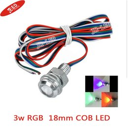 Wholesale Red Eagle Eye Light - Wholesale- Freeshipping 2pcs High brightness Wired 3W E-01 18mm COB LED Eagle Eyes Car Bulb RGB Light 70lm - Silver + Red