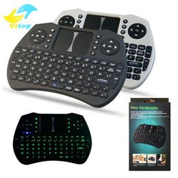 2017 Mini Teclado Inalámbrico verde con retroiluminación de 2.4 GHz Inglés Russian Air Mouse Control Remoto Touchpad para Android TV Box Tablet PC desde fabricantes
