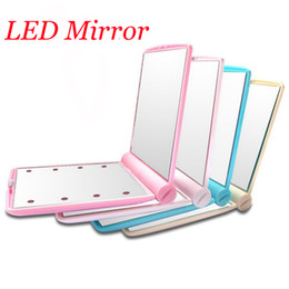 Wholesale Hand Pocket Mirror Wholesale - LED Mirror Makeup Mirror 8 LED Lights Lamps Cosmetic Folding Portable Compact Pocket Hand Mirror Make Up Under Lights with Bettery DHL free
