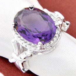 Wholesale Zirconia Solitaire Rings - Free And Fast Shipping 2017 Direct Selling 4pcs Artistic Purple Crystal Gemstone 925 Silver Jewelry Rings #7 #8 #9 R0001