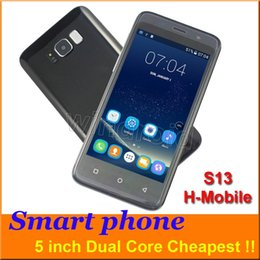 Wholesale Cheap Unlock Phone - Cheap 5 inch Android smart phone MTK6572 Dual Core 854*480 Dual SIM Camera wifi GSM Unlocked H-Mobile S13 Mobile Free shipping with case