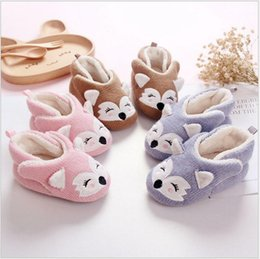 Wholesale Baby Boys Shoes Wholesale - 3 pairs lots Newborn Baby Shoes Infant Shoes Winter Soft Cotton Baby First Walker Toddler Boy girl Keep Warm fox shoes