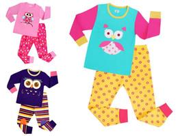 Wholesale Owl Sleepwear - NEW Kids pajamas boys girl sleepwear Kids Owl Pajamas Top+Pants 2 pcs children pajamas for 1~7 years baby kids 6 sets l