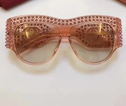 Wholesale Oval Glass Crystals - Luxury Designer 0144S Pink Silver Acetate Sunglasses with Crystals Women Fashion Sunglasses 0144S Brand New with Case