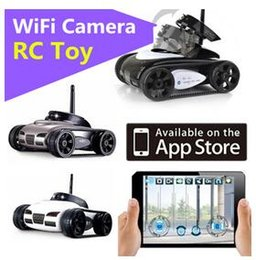 Wholesale Wifi Mini Spy Camera Iphone - New RC Mini Tank Car Spy with Video 0.3MP Camera WiFi Remote Control By iphone Android Robot with Camera 4CH White Grey DHL fast shipping