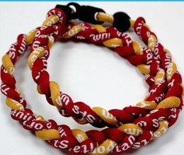 Wholesale Ge Titanium Necklaces - Promotion - 350PCS Lot Baseball Sports Titanium 3 Rope Braided Red Red Yellow GE Necklace RT055