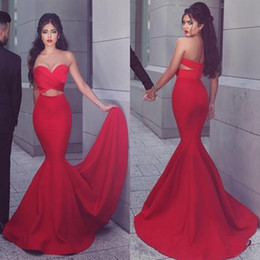 Wholesale Cheap Cut Out Prom Dresses - 2017 Sexy Mermaid Prom Dress Sweetheart Neck Ruched Top Cut Out Design Red Evening Party Gowns with Sweep Train Cheap High Quality