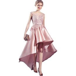 Wholesale Highest Discount Winter Dress - Discount Lace High Low Pink Homecoming Dresses 2017 Jewel Neck Sash Sexy Prom Dresses Cheap Semi Formal Gowns Party Gown
