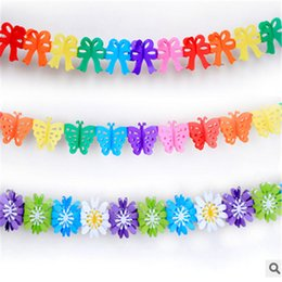 Wholesale Honeycomb Paper Garland - Wholesale-Fashion 1pcs 3m Creative Colorful Wedding Paper Garlands Ribbons Decorated Marriage Room Honeycomb Ball Ornaments -7z