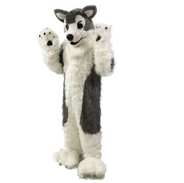 Wholesale Grey Dog Costume - Gray Wolf Husky dog Mascot Costume Cartoon Real Photo