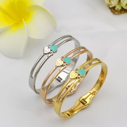 Wholesale 14k Chain Brand - Luxury Famous Brand Jewelry Pulseira Stainless Steel Bracelet & Bangle Gold Color Heart Love Tag Bracelet Jewelry For Women