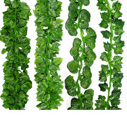 Wholesale Artificial Ivy Wall - 2 Meter long simulation leaves simulat Boston ivy Fake green vines artificial flower