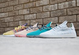 Wholesale Raw Yellow - Free Shipping Pharrell Tennis Hu Shoes in Multi-Color White Green Tan Teal Olive Raw Pink ,Womens Mens Pharrell Williams Tennis Hu Sneakers