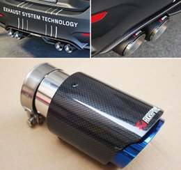 """Wholesale Exhaust Fiber Carbon - Akrapovic Glossy Carbon Fiber Exhaust Pipe tip ID:2.5"""" 63mm OD:4.5"""" 114mm"""