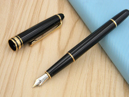 Wholesale office fountain - New 163 golden Luxury BLACK Lacquerred Fountain Pen