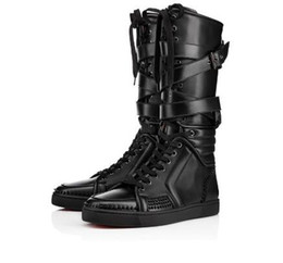Wholesale Trainer Heels - Top Brand Men Boots Red Bottom Sneakers Boot Sporty Dude Flat Studded sneakers Trainers BNIB Spikes Boots
