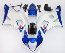 Wholesale Silver Blue Gsxr Fairings - 3 free gifts New Suzuki GSXR1000 K3 03 04 GSXR 1000 K3 2003 2004 Injection ABS Plastic Motorcycle Fairing The classic white blue style