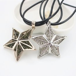 Wholesale Double Star Necklace - Fashion Jewelry Rhinestone Alloy Star Necklace Double PU Leather Chain Pendant Necklace For Women Long Necklace