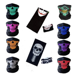 Wholesale face mask bandanas - New 10styles Motorcycle bicycle outdoor sports Neck Face Cosplay Mask Skull Mask Full Face Head Hood Protector Bandanas Party Masks C012