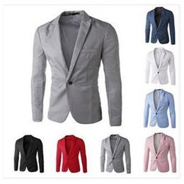 Wholesale Korean Mens Blazers - Wholesale- New Arrival Mens Slim Fit Blazer Jacket Korean Stylish Single Button Men Suit Costume Veste Homme