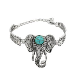 Wholesale Tibet Silver Open Cuff - Elephant Arm Cuff Open Adjustable Bracelet New Fashion Natural Stone Bangles Antioue Silver color Bracelets Bangles For Women