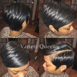 Wholesale African American Lace Wigs - Lace front human hair wigs New Arrival Cheap Pixie Cut short glueless wig with bangs for african americans Best brazilian hair wigs