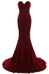 Wholesale Up Neck Formal Dress - 2018 Latest Free Shipping Sweetheart Neck Mermaid Evening Dresses Velvet Burgundy Formal Evening Gowns Prom Dresses
