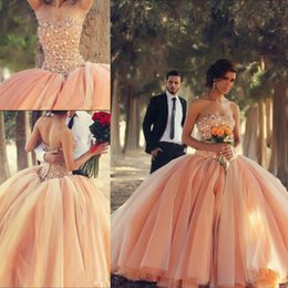 Wholesale Sexy Aqua Prom Dresses - 2017 New Sexy Aqua Peach Strapless Organza Ball Gown Quinceanera Dresses Sleeveless Winter Beaded Crystals Tulle Formal Prom Dresses