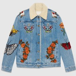 Wholesale Jeans Jacket Short Sleeves - Wholesale- New G brand design denim jacket women in 2016 embroidery lamb fur warm thick outerwear short navy blue jeans female jacket tops