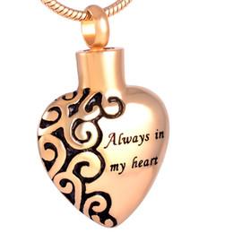Siempre en mi corazón Grabado Corazón Acero inoxidable Cremación Colgante Collar Flor Etch Cenizas Recuerdo Urna Collar desde fabricantes