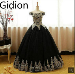 Wholesale Sweet 16 Gowns - 2017 real picture latest black ball gown gold lace appliques prom dress off the shoulder formal prom gowns sweet 16 hot sale corset dress