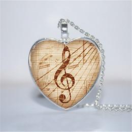 Pendenti della collana di musica online-10pcs / lot Vintage Treble Clef Pendant, collana musicale, chiave di violino collana cuore vetro foto cabochon collana